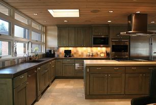 Contemporary Kitchen with Undermount sink, Pental black soapstone, Jenn-air - warming drawer (stainless), slate tile floors