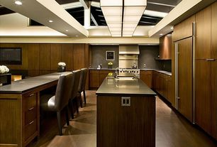 Contemporary Kitchen with LG Hausys HI-MACS 2 in. Solid Surface Countertop Sample in Concrete Grey, High ceiling, Soapstone
