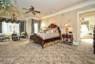 Traditional Master Bedroom with Carpet, Bay window, interior wallpaper, Ceiling fan, Crown molding