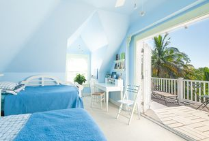 Traditional Kids Bedroom with French doors, Carpet, Ceiling fan