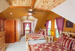 Rustic Guest Bedroom with specialty door, High ceiling, Ceiling fan, Exposed beam, Carpet