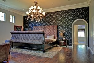 Eclectic Master Bedroom with interior wallpaper, Standard height, can lights, Chandelier, picture window, Crown molding