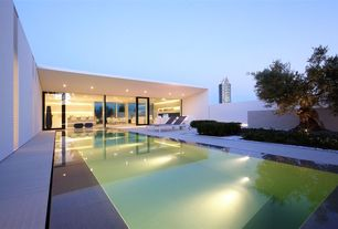 Contemporary Swimming Pool with Other Pool Type, picture window, French doors, Fence