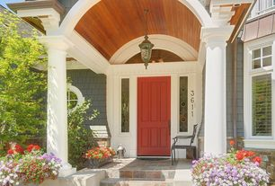 Cottage Front Door with Stained glass window, Raised beds, Transom window, exterior stone floors