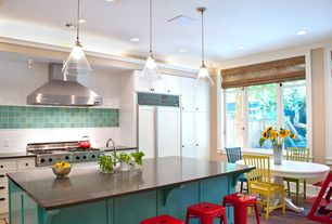 Contemporary Kitchen with European Cabinets, Flat panel cabinets, Tabouret 24-inch Red Metal Counter Stools, Farmhouse sink