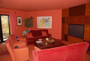 Modern Living Room with sliding glass door, Paint 1, Built-in bookshelf, Carpet, can lights, Charlotte velvet sofa