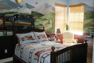 Eclectic Kids Bedroom with Hardwood floors, Chair rail, Mural