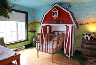 Eclectic Kids Bedroom with Wall sconce, Hardwood floors, Mural, Bunk beds