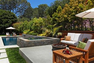 Contemporary Patio with Fire pit, MS International Mojave Blend Thin Veneer Sandstone, Raised beds, exterior stone floors