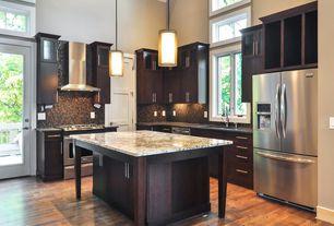 Traditional Kitchen with Soapstone counters, Wall Hood, Balcony, Flush, gas range, Kitchen island, Multiple Refrigerators