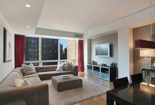 Contemporary Living Room with Built-in bookshelf, Schonbek Refrax 11-Light Down Lighting Island/Billiard Fixture