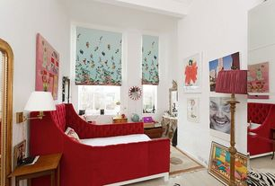Modern Guest Bedroom with Hardwood floors, Crown molding, High ceiling, picture window, bedroom reading light, Casement