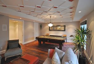 Eclectic Game Room with Box ceiling, Hardwood floors, flush light