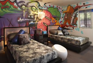 Contemporary Kids Bedroom with Carpet, Pendant light, Mural