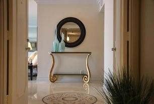 Art Deco Entryway with complex marble tile floors, French doors