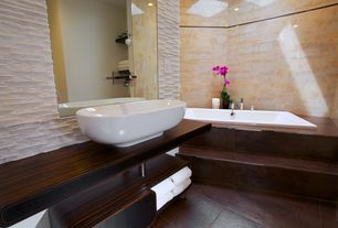 Contemporary Master Bathroom with Master bathroom, Standard height, Wood counters, Wall tile, Vessel sink, Bathtub, Paint