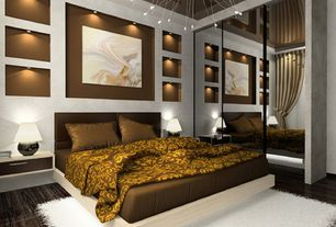 Contemporary Master Bedroom with Hardwood floors, Chandelier, Wall sconce