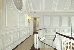 Traditional Staircase with Crown molding, High ceiling, curved staircase, Box ceiling, Hardwood floors