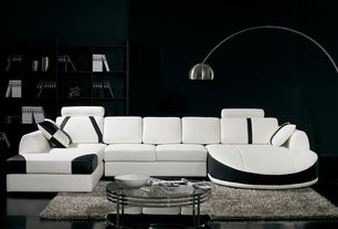 Contemporary Living Room with T57B Ultra Modern White and Black Leather Sectional Sofa, Built-in bookshelf, Concrete floors