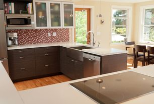 Contemporary Kitchen with flush light, Farmhouse sink, Kitchen island, Penny Tile, French doors, Breakfast nook, Flush