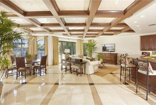 Traditional Great Room with Box ceiling, Built-in bookshelf, complex marble tile floors