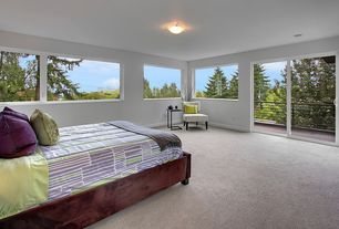 Contemporary room with flush light, picture window, sliding glass door, Carpet, Standard height