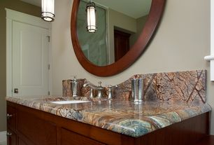 Modern Full Bathroom with Hudson Valley Lighting 8531-HN Historic Nickel Single Light Pendant from the Portland Collection