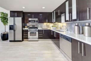 Contemporary Kitchen with Vellum, Hardwood floors, Flush, Kenmore  25 cu. ft. side-by-side refrigerator - stainless steel