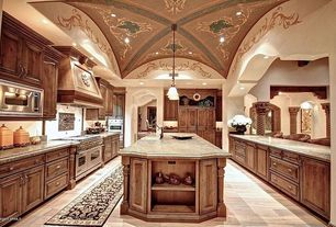 "Mediterranean Kitchen with Pendant light, High ceiling, Raised panel, Viking - 48"" gas range - vgcc, Farmhouse sink, U-shaped"