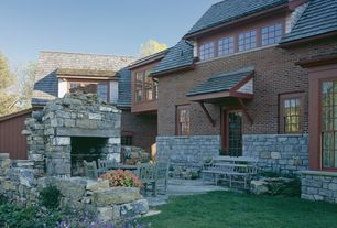 Rustic Patio with Pathway, exterior stone floors, double-hung window, French doors, Casement
