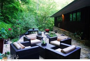 Modern Patio with Pathway, Fire pit, exterior stone floors