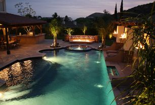 Mediterranean Swimming Pool with Fire pit, Covered outdoor seating area, Outdoor kitchen, exterior concrete tile floors