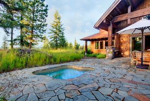 Rustic Hot Tub with French doors, picture window, Pool with hot tub, Outdoor kitchen