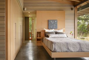 Contemporary Guest Bedroom with Heliotrope Architects - Suncrest Project, Built-in bookshelf, American Modern Bed - Maple