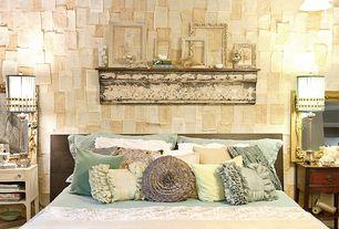 Eclectic Master Bedroom with Built-in bookshelf, Standard height