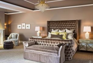 Contemporary Master Bedroom with Coaster upholstered velvet bed with button tufting, interior wallpaper, Chandelier, Carpet