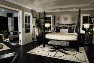 Art Deco Master Bedroom with Hardwood floors, Standard height, Wainscotting, can lights, French doors, Ceiling cove, Paint