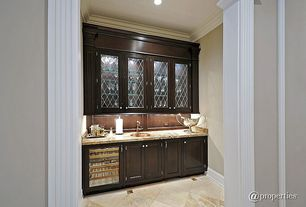 Traditional Pantry with Built-in bookshelf, Crown molding, simple marble tile floors