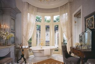 Traditional Master Bathroom with large ceramic tile floors, Freestanding, specialty window, Accent Tufted Fabric Dining Chair