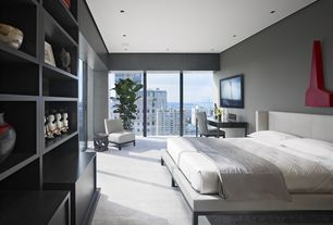 Contemporary Guest Bedroom with Built-in bookshelf, Wall Street Faux Leather Armless Chair, Carpet