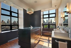 Modern Full Bathroom with Wood counters, picture window, full backsplash, Standard height, Full Bath, Vessel sink, can lights