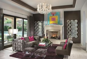 Eclectic Living Room with Upholstered lucite stool, Chandelier, Carpet, Axis Floor Mirror, Cement fireplace