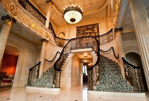Traditional Staircase with Crown molding, High ceiling, Chandelier, Concrete tile , Double staircase, Loft