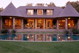 Traditional Exterior of Home with Formal garden, Exterior stone walls, Symmetry, Garden pavillion, Reflecting pond