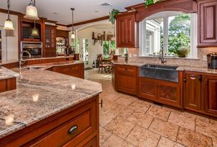 Country Kitchen with MS International African Ivory Polished Granite, Ceramic Tile, Undermount sink, L-shaped, Inset cabinets