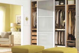 Contemporary Closet with sliding glass door, Laminate floors, Wall sconce, Standard height, Built-in bookshelf