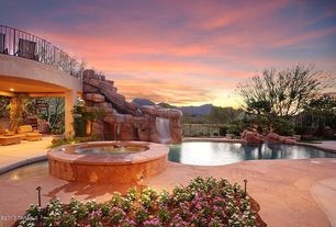 Mediterranean Landscape/Yard with water fall, Garden Gnome Imitation Pool Landscape Accent Rocks, Fountain, Fence, Pathway