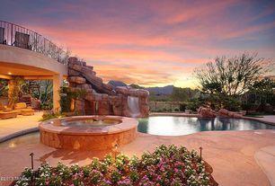 Mediterranean Landscape/Yard with Pathway, Garden Gnome Imitation Pool Landscape Accent Rocks, pool ramada, Fence, Fountain