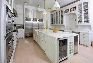 Contemporary Kitchen with Wine refrigerator, Complex Marble, Kitchen island, two dishwashers, Multiple Refrigerators