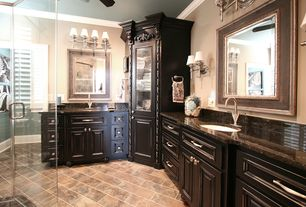 Traditional Master Bathroom with slate tile floors, Ceiling fan, Complex Granite, Raised panel, Inset cabinets, Wall sconce